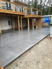 Slate gray concrete patio.