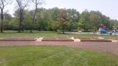 Raised garden beds at Kiwanis Park. Beds made from cedar and filled with 2 way top soil.