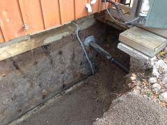 Excavation for basement waterproofing.