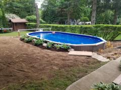 Just finished on ground or partial in ground pool.